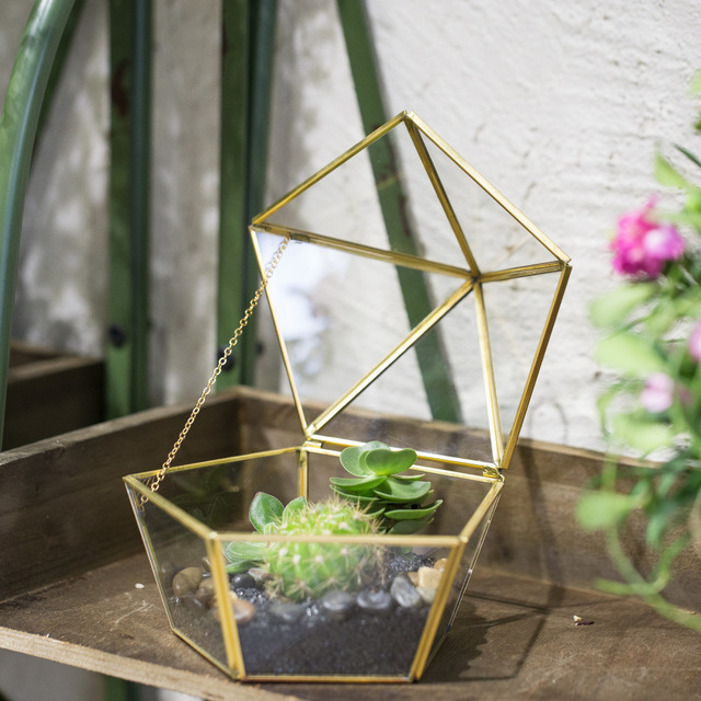 Modern Diy Artistic Brass Clear Jewel Boxed Shape Glass Geometric