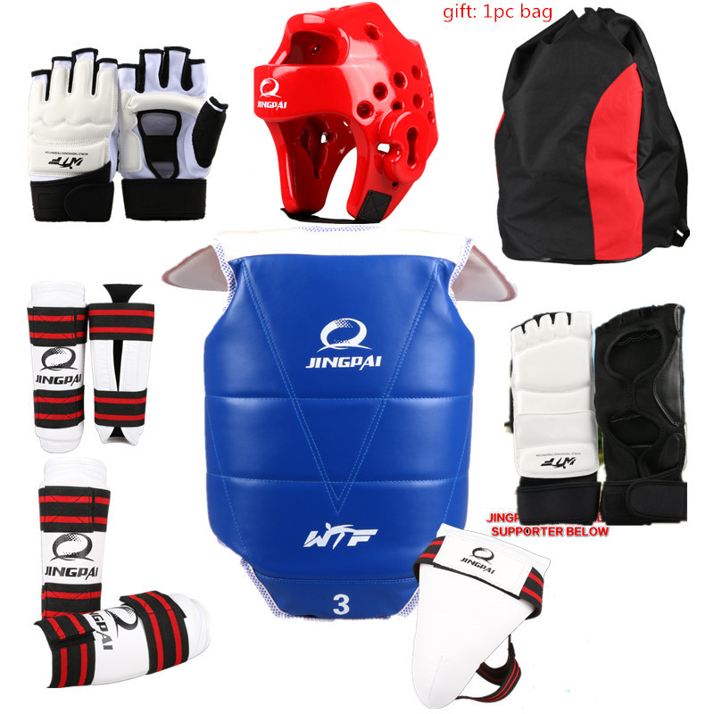 Taekwondo Protective Gear Set WTF Hand Chest Protector Foot Shin Arm Groin Guard Helmet 8pcs Children Adult Taekwondo Karate Set 2017new full set taekwondo protectors karate shin guard arm protector helmet body chest protector groin crotch protective guards