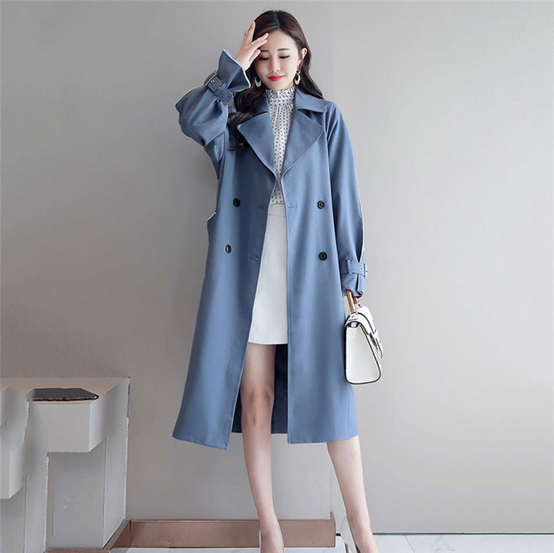 2020 New Fashion Long Windbreaker Female Spring Autumn Korean Loose Tie Belt Waist Thin Trench Coat For Women X349