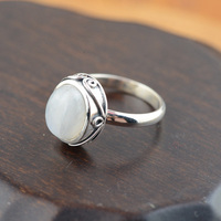 Real Pure Sterling Silver 925 White Moonstone Ring Initial Womens Jewellery Vintage Natural Gemstone Elegant Fine Jewelry