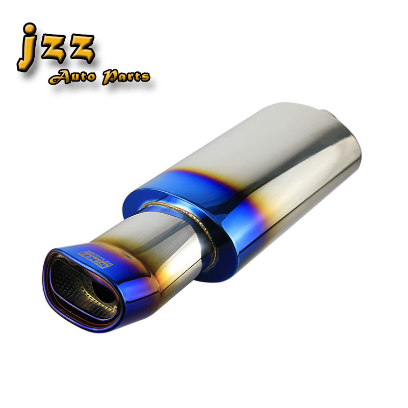 JZZ universal 63mm inlet oval car exhaust pipe stainless steel race muffler sport sound in burned