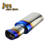 JZZ universal 63mm inlet oval car exhaust pipe stainless steel race muffler sport sound in burned black blue with wide mouth
