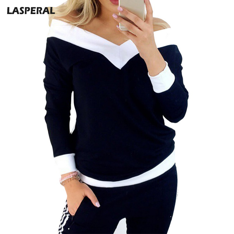 LASPERAL Fashion Spring V-Neck Slim T-Shirts Women Solid Long Sleeve Patchwork T Shirt Female Casual Off Shoulder Basic Tee Tops