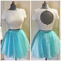 Lovely Girl Short Light Blue Homecoming Dress 2017 O neck Pearls Top Open Back Two Piece A Line Puffy 8th Grade Prom Dresses