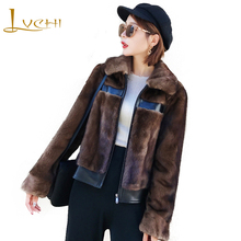 LVCHI Winter 2019 Import Velvet Real Mink Fur Coats Women's Coat Full Pelt Causal Turn-Down Collar Patchwork Leather Mink Coats