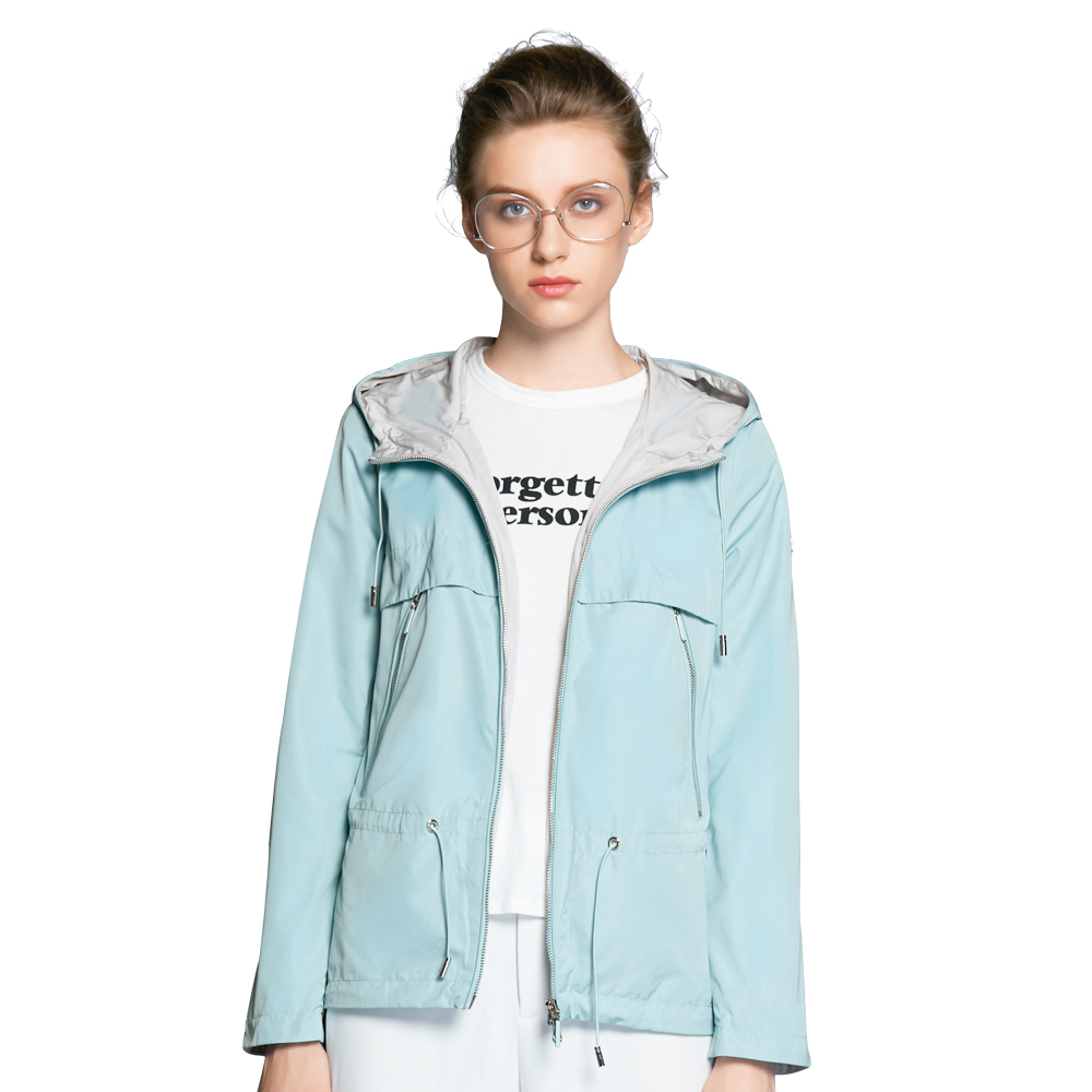 ICEbear 2018 new autumn women trench coat woman high-quality overcoat casual windbreaker brand women's autumn coat GWF18022D blue plain lapel collar sleeveless trench coat