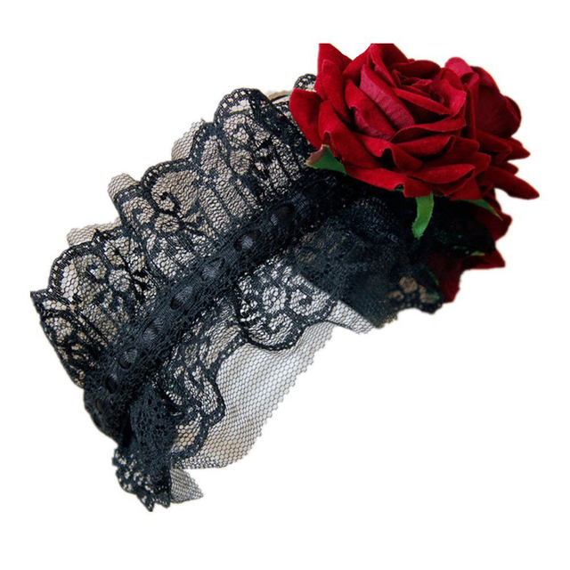 gothic style servant girl jewelry red rose headband hair band festival christmas decorations red