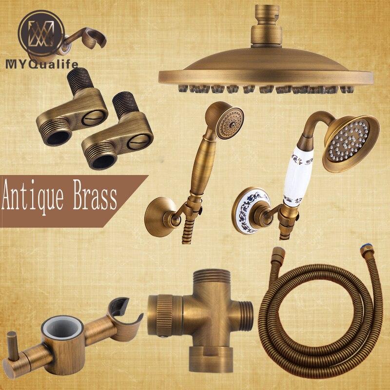 Antique Brass Bathroom Shower Faucet Accessory 8 Rain Shower Head/Hand Shower/150cm Hose/Angle Valve/Bracket factory direct sale best price 8 brass head shower with hand shower bathroom shower faucet antique