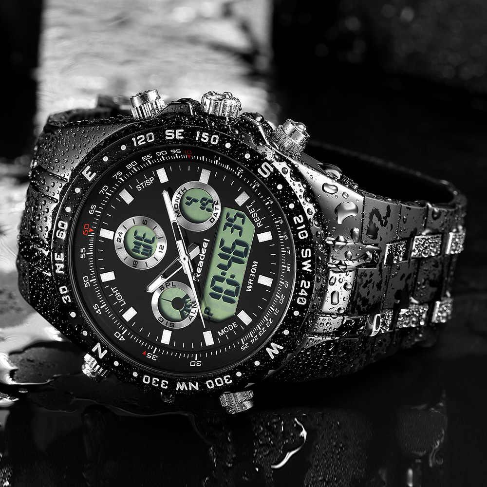 腕時計メンズファッションスポーツクォーツ時計メンズ腕時計トップブランドの高級ledデジタル防水黒腕時計レロジオmasculino