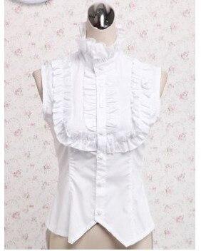 2017 nouvelle chemise Lolita en coton blanc avec dentelle vêtement quotidien près du corps sans manches lolita personnaliser pour les adultes de grande taille