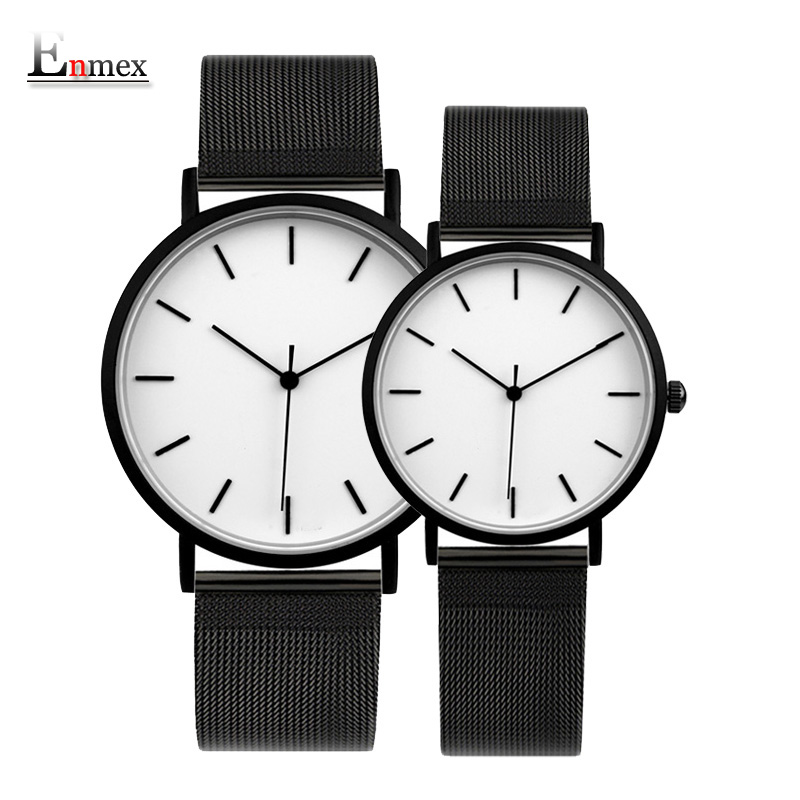 2017 Enmex cool style couple wristwatch Brief vogue simple stylish Black and white face Matte texture quartz clock fashion watch 2017 enmex cool style men wristwatch brief vogue simple stylish black and white face stainless steel quartz clock fashion watch