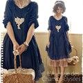 Японский Стиль Мори Девушка 2016 Весна Женщин Сплошной Цвет Кружева Лоскутное Длинным Рукавом Harajuku Kawaii Dress Catwalk Платья C262