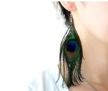 New Style Assorted Color Peacock Feather Earrings