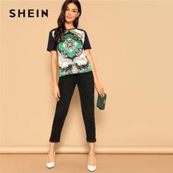 SHEIN Retro Multicolor Scarf Print Mixed Media Top Round Neck Short Sleeve Tee Tshirt Women Summer Streetwear Vintage T-shirts 4