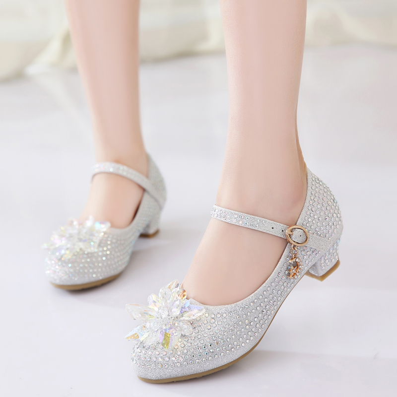 Childrens high heel princess shoes girl crystal shoes fashion show leather shoes