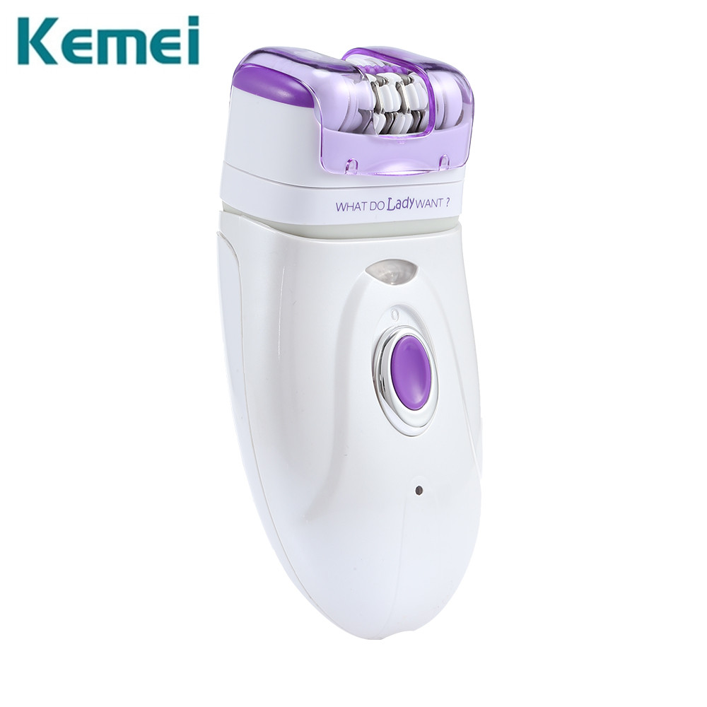 Kemei Electric Epilator Depilator Shaver 3-in-1 Rechargeable Dry Wet Use body Leg Bikini Hair removal Shaving Machine+ 3 Heads the new body wash wet and dry two heads rotary man beard shaver beauty hair removal travel portable rechargeable smart shaver