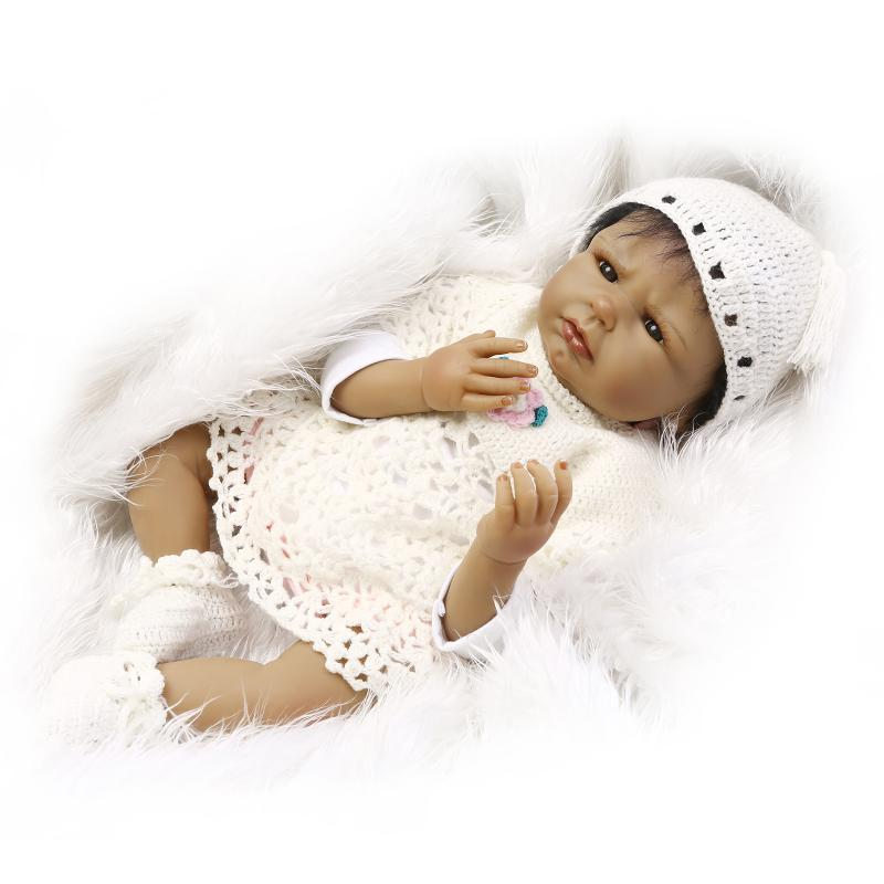 Cute Real Reborn Babies Newborn Black Doll with Clothes and Hat,50 CM Silicone Baby Doll for Sale Toys for Children