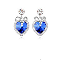 2015 HOT Sale Siver Zinc Alloy Trendy Women Blue Crystal Ocean Heart Stud Earring Titanic Heart of Ocean Womans Stud Earrings 1