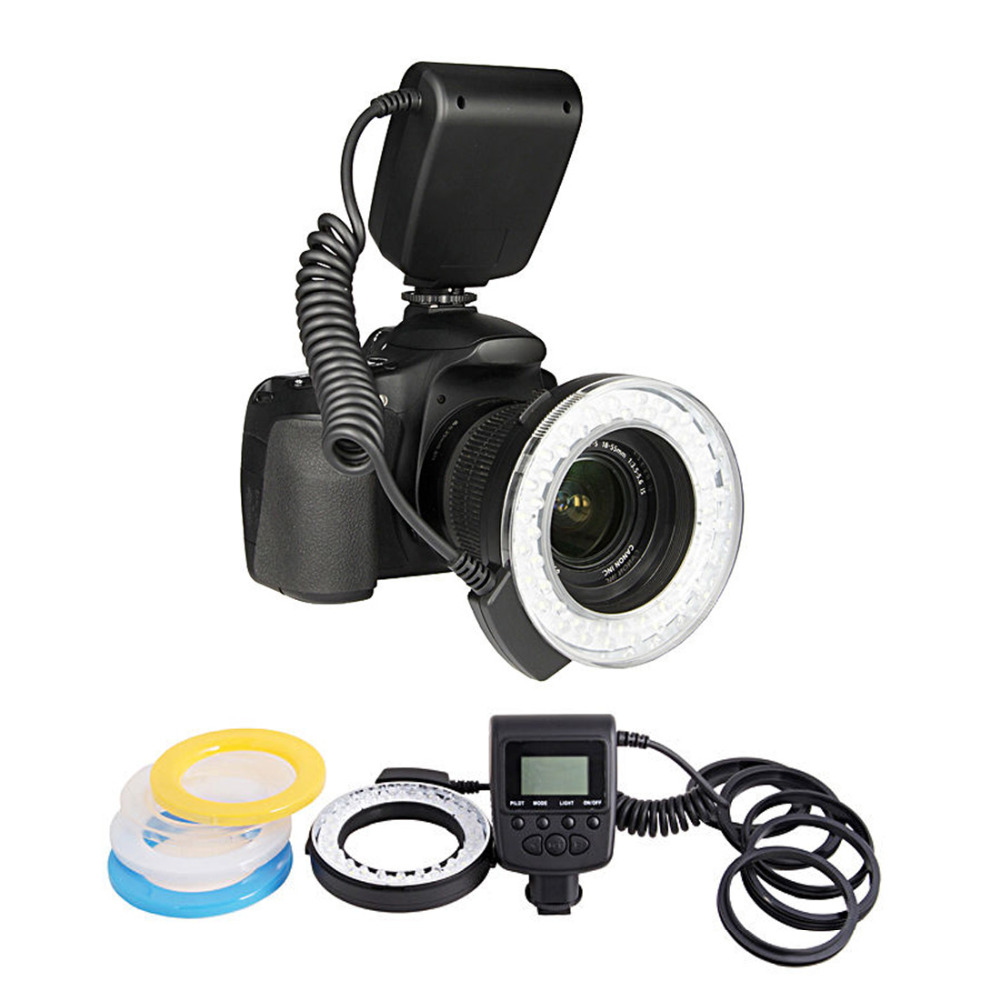 цена RF-550D Macro 48 pieces LED Ring Flash Light for Canon Nikon for Olympus for Panasonic DSLR Camera