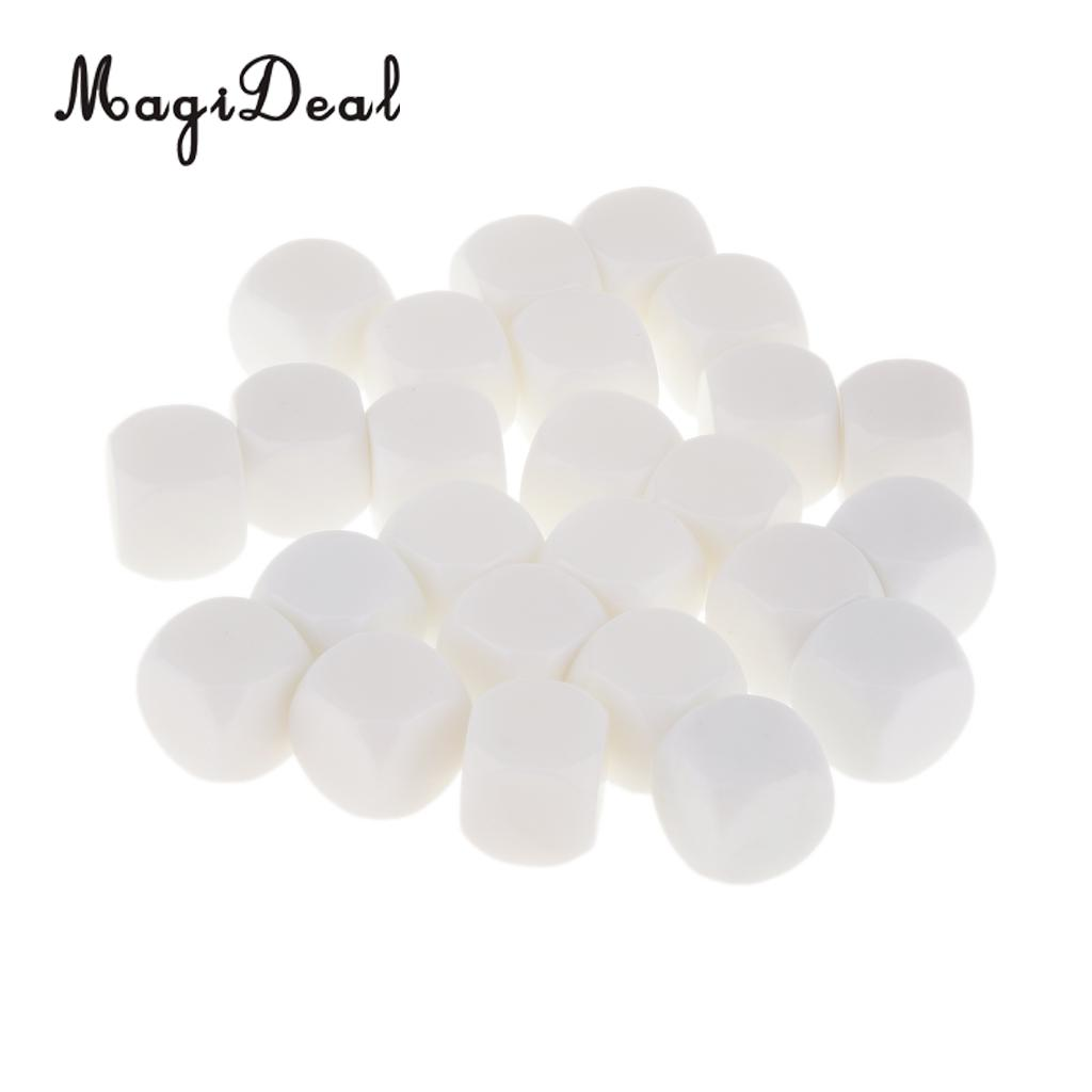 MagiDeal Hot Sale 25Pcs/Lot Acrylic 16mm D6 Gaming Dice for Classroom Friends Party Club Pub Bar Play Table Card Game DIY Toys