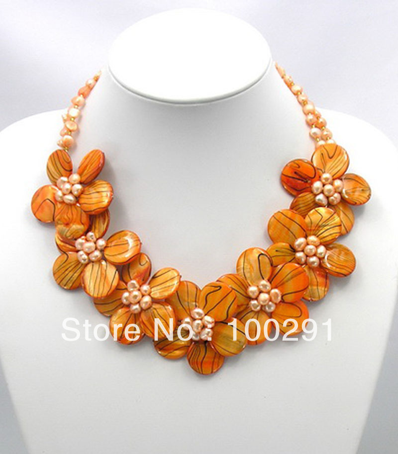 Free Shipping Charming Orange Zebra Mother of Pearl MOP Shell FW Pearl Wired Flower
