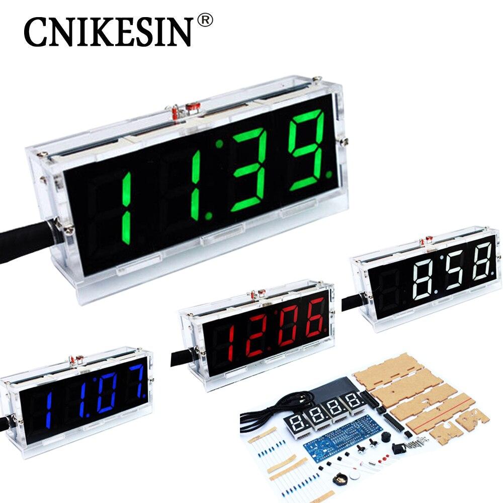 CNIKESIN Diy reloj digital voz cronometraje kits, LED DIY SCM formación diy reloj electrónico/reloj 4 colores (opcional