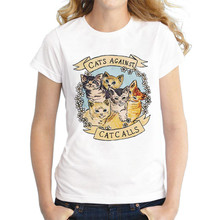 Showtly  Cats Against Cat Calls Womens T Shirt Summer Couple Tee Tops Casual Cotton Short Sleeve