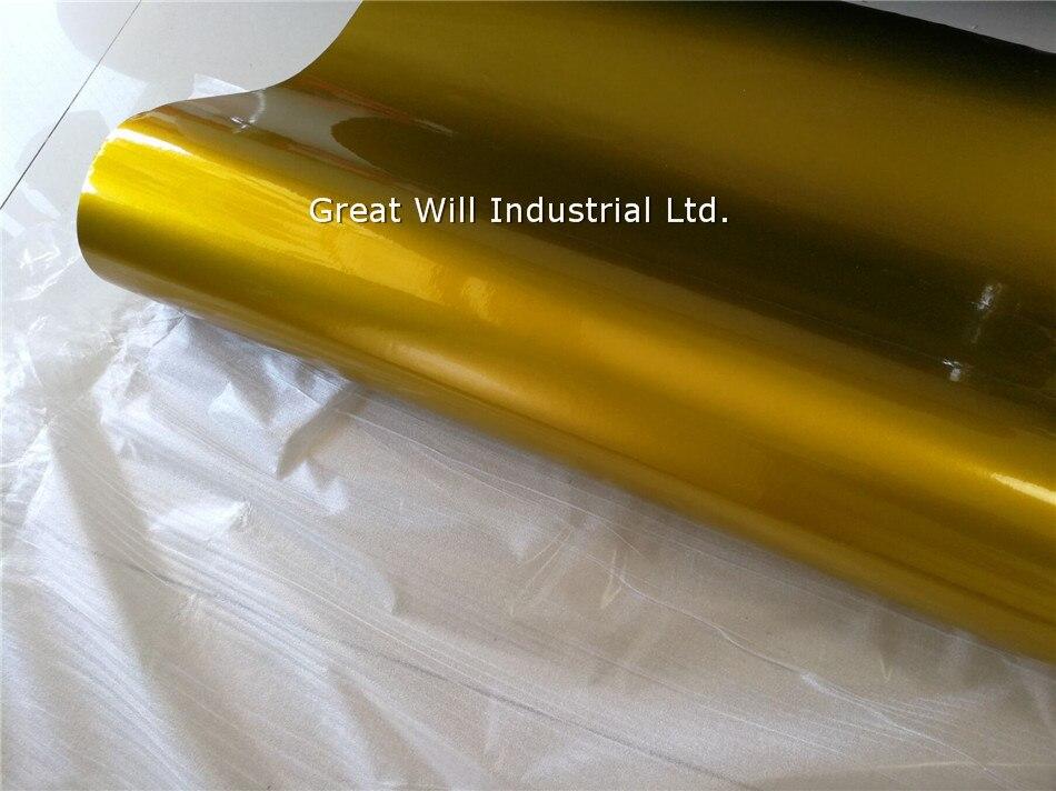 Глянцевая металлическая желтая Золотая виниловая обёрточная бумага, полное покрытие для автомобиля, карамельный желтый для автомобильного стайлинга, блестящая обёртка, Размер 1,52*20 м/рулон