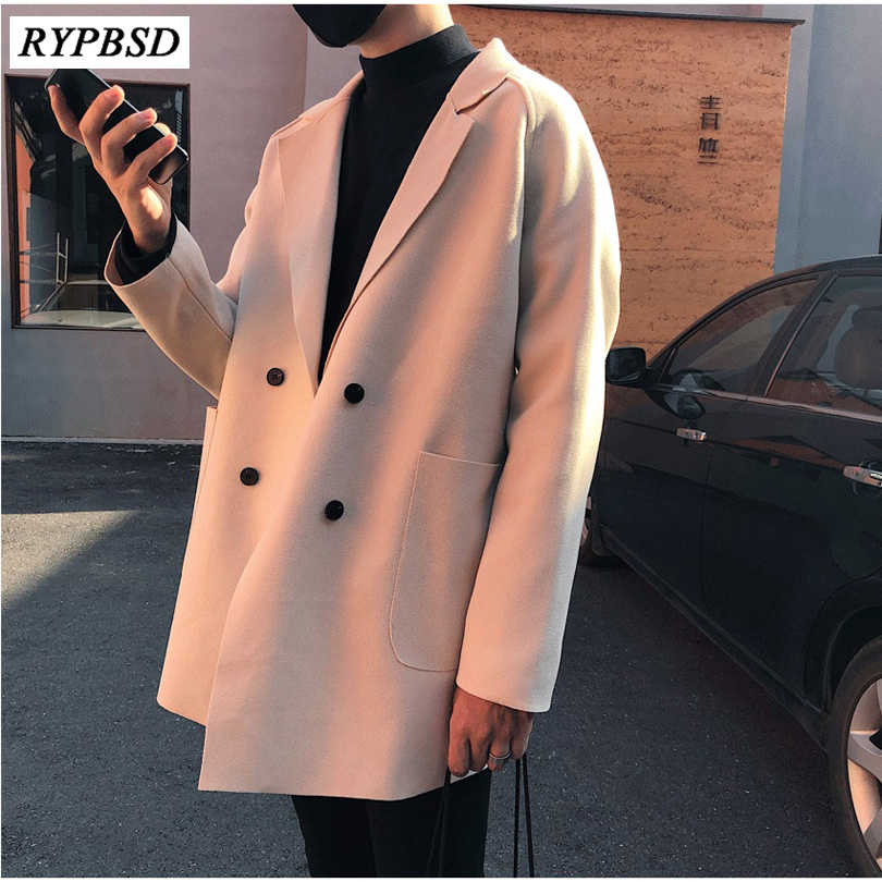 Winter Cashmere Overcoat Thin Korean Fashion Turn Down Collar Double Breasted Coat Mens Wool Coat Outwear Warm Overcoat 3 Colors