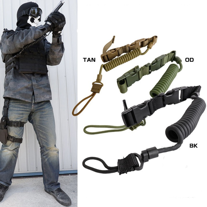 CQC Airsoft Military Combat Sling Telescopic Tactical Hunting Pistol Hand Gun Secure Lanyard Spring Sling Strap With Magic Tape