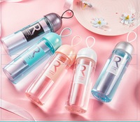 300ml Korean Style Candy Color Glass Water Bottle Portable My Water Bottle Fruit Juice Bottle For