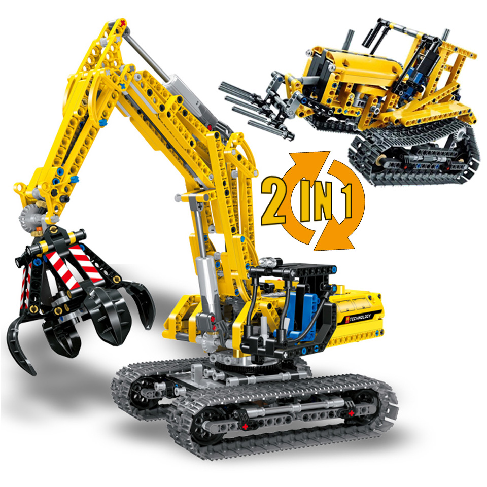 2 In 1 Excavator Bulldozer Compatible Legoing Technic Model Building Blocks 720 Piece Bricks Boy Birthday Gift Toys For Children Drip-Dry