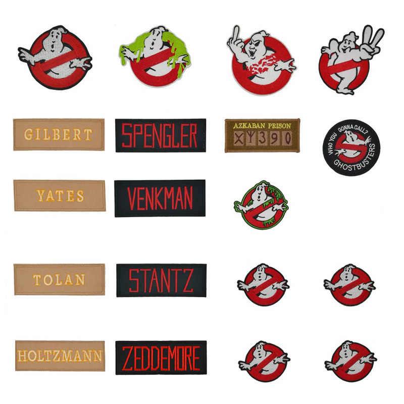 Tim Ghostbusters Jari Tengah Ghost Busters Tidak Ada Hantu Zeddemore Film Logo Venkman Nama Seragam Kostum Besi Pada Patch Emblem