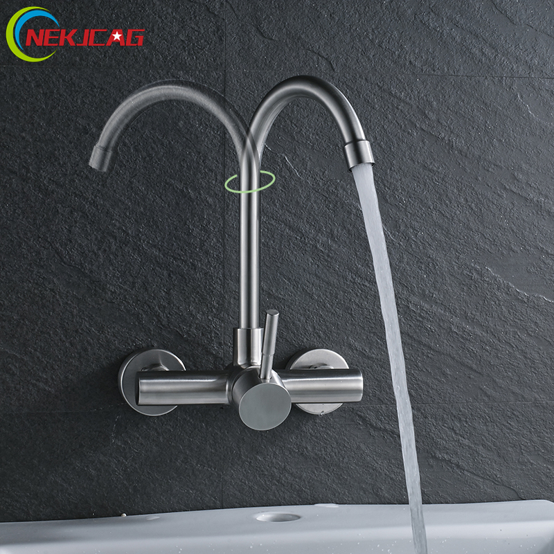 Into the Wall Basin Faucet  Stainless Steel Finish Water Hot and Cold Water Faucet with 360 Degree Rotation Mixer Tap sus304 stainless steel dish basin faucet water tap ceramic disc cartridge single hot cool water mixer rotable unleaded faucet