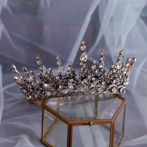 Image 2 - baroque crystal wedding crown queen bridal Tiaras bride headband party accessories diadem marriage hair jewelry ornaments