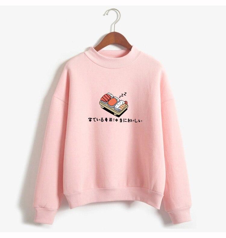 Women Hoodies 19 Autumn Winter Sweatshirts Cartoon Kawaii Sushi Japanese Print Fleece Loose Moletom Feminino Harajuku Pullover 4