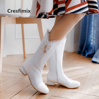 Vrouwen Laarzen Women Cute White Pu Leather Long Boots Ladies Black Comfortable Autumn Boots High Quality Winter Boots G3074