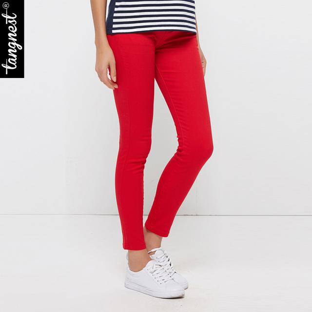 TANGNEST Mulheres Calças 2017 Calças Colores Doces Sólida Breve Estilo Plus Size Magro Calça Jeans Fit Lápis Para WKP004 Feminino