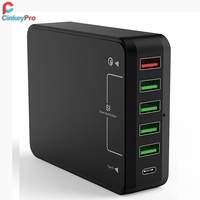 CinkeyPro Quick Charge 3.0 5 Ports USB Charger with Type C for Samsung iPhone iPad 8A Adapter Mobile Phone Tablet Fast Charging