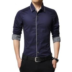 Image 3 - MIACAWOR Top Quality Shirt Men 100% Cotton Dress Shirts Spring Long Sleeve Casual Shirt Men Wedding White Shirts Men C013
