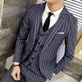Мужская платье костюмы Одной кнопки хлопок Тонкий Бизнес случайный полосатый пиджак Высокое Качество 2017 осенне-зимней моды XZ50
