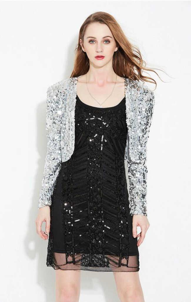 0a2c962c06c ... Spring Women Long Sleeve Short Cropped Coat Shiny Sequin Bolero Shrug  Cardigan Jacket Gold Black Silver ...