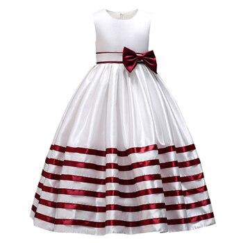 1712ce4eea Vestido de noche para niñas vestido de fiesta de graduación con rayas para  niños vestido de fiesta de boda con lazo ropa para niños