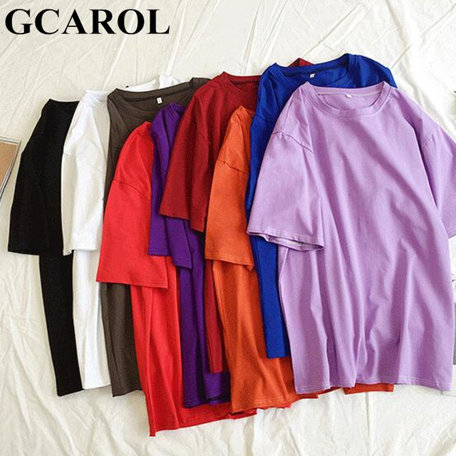 GCAROL 2019 Lente Zomer Oversize vrouwen Snoep T-shirt Knappe Streetwear Perfect Basics Tops Maken Ongevoerd Kledingstuk