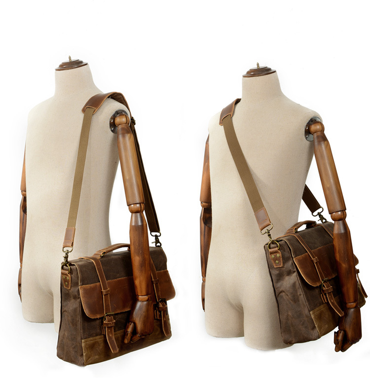 """HTB1qBzFSrvpK1RjSZPiq6zmwXXaB M275 Mens Messenger Bag Waterproof Canvas Leather Men Vintage Handbags Large Satchel Shoulder Bags 14"""" Computer Laptop Briefcase"""