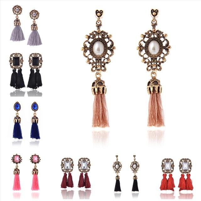 H3 Bohemian Style Tassel Earrings Exquisite Handmade Long Fringe Drop Earrings F