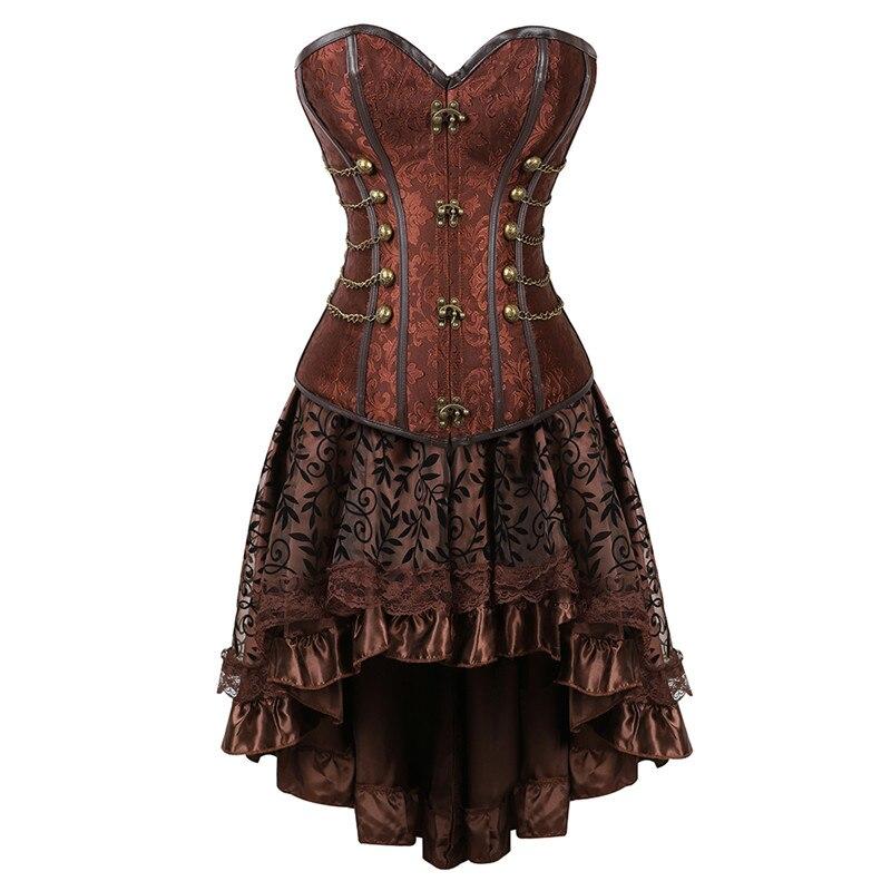 Plus Size 6XL Steampunk Corsets Dress Gothic Overbust Corset Dress Women High Waist Skirts Sexy Lace Bustier Corselet