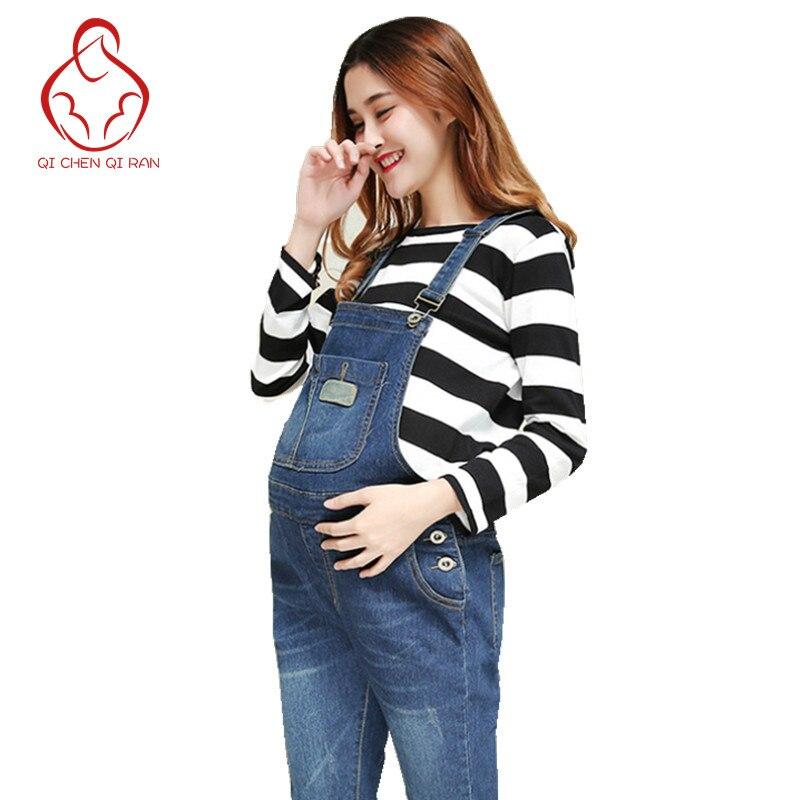 Maternity Clothes Adjustable Maternity Strap Jeans Slim Stretch Jumpsuit Suspenders Trousers Uniform Jeans Pregnancy Clothes