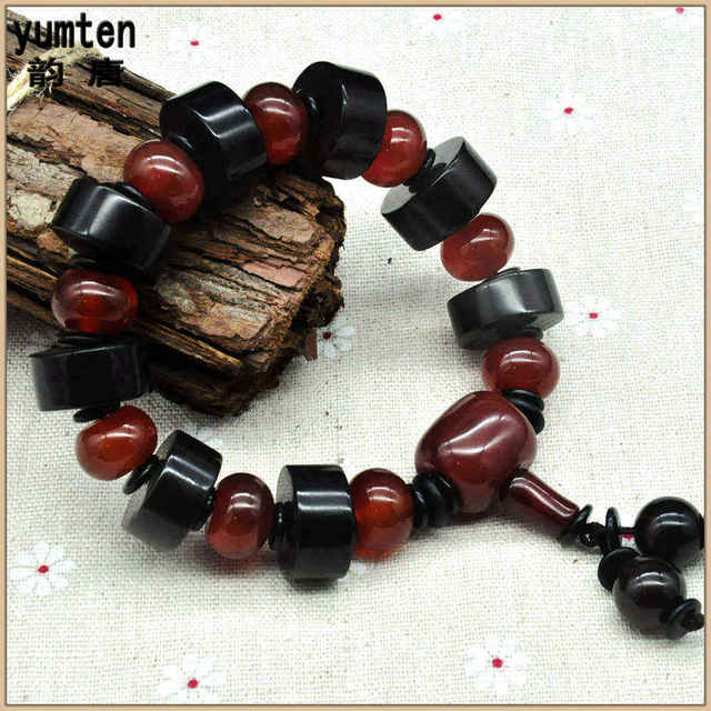 Yumten Natural Round Ruby Beads Handmade Men Jewelry Charm Bangle Erkek Bileklik Boncuk Pulseiras Masculinas Gift For Friend