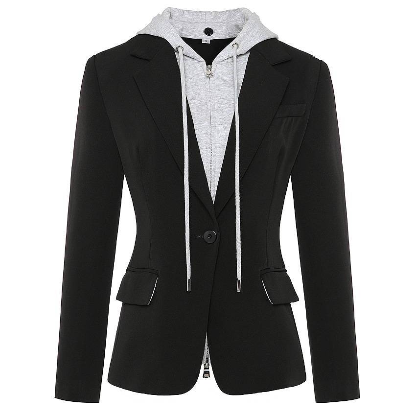 High Street Style Fall Fit Designing Women Zipper Detachable Hooded Single Button Casual Blazer High Quality Outer Wear Jackets
